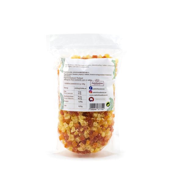 Papaya og ananasbiter 600 g