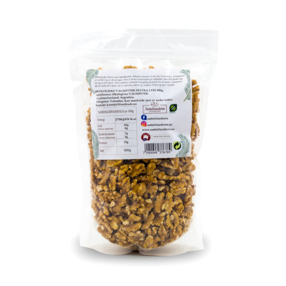 Økologiske ekstra lyse valnøtter (håndknekte) 800 g