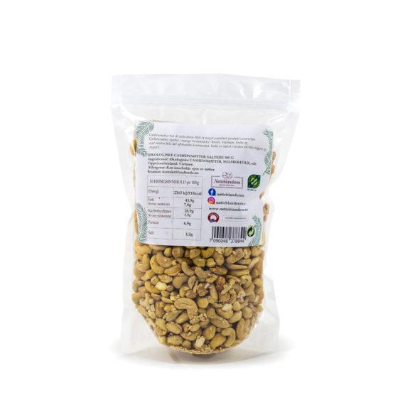 Økologiske cashewnøtter ovnristede og saltede 500 g
