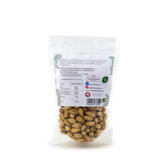 Økologiske pistasjnøtter ristede og usaltede 620 g