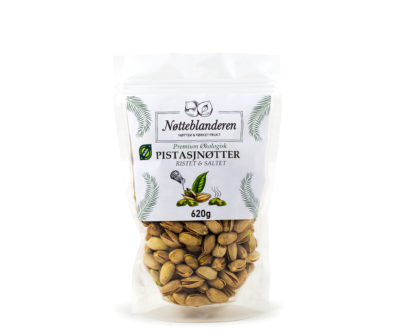 Økologiske pistasjnøtter ristede og saltede 620 g