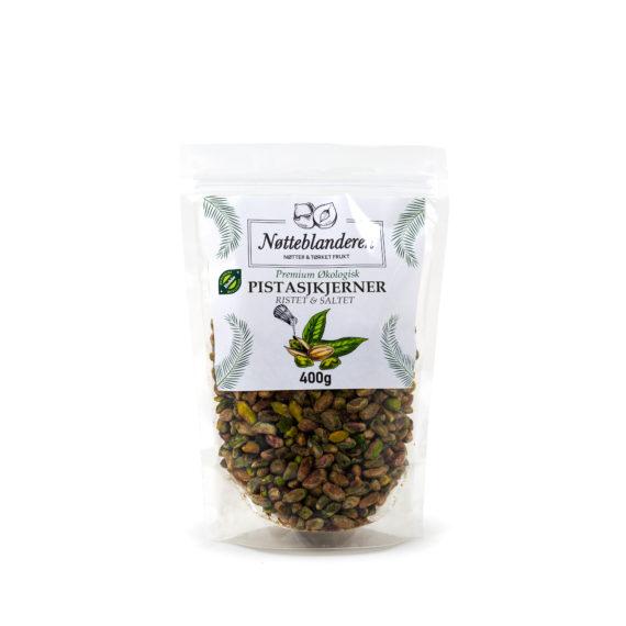 Økologiske pistasjkjerner ristet med salt 400 g (Pistasjnøtter uten skall)